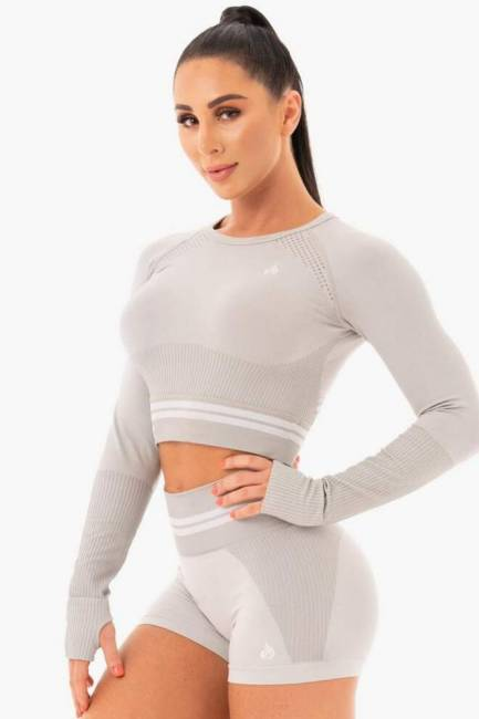 Ryderwear Freestyle Seamless Longsleeve Crop - Grey