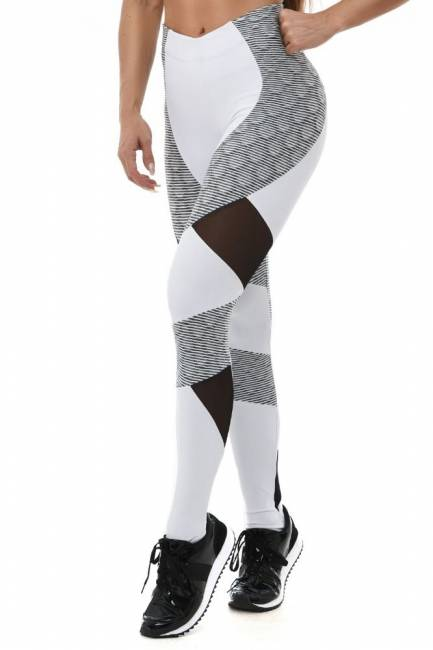 Let´s Gym Leggings Snake Ondule White