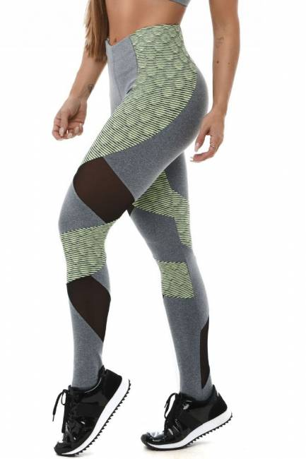 Let´s Gym Leggings Snake Ondule Green