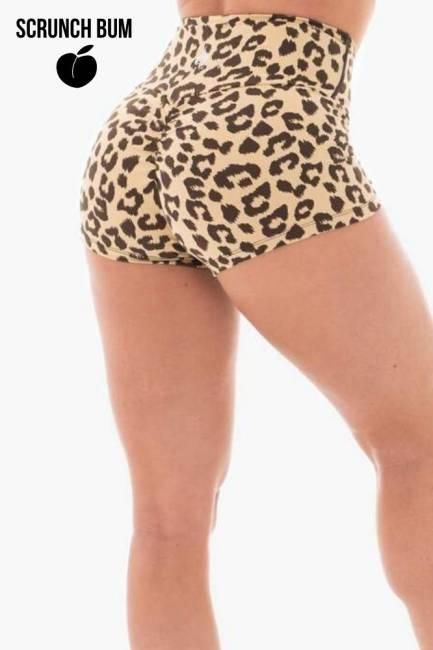 Ryderwear Animal Scrunch Bum Shorts - Tan Leopard