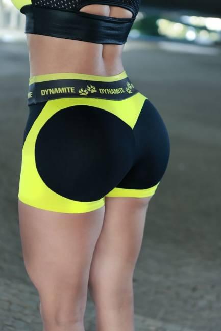 Dynamite Shorts Apple Booty Neon Black