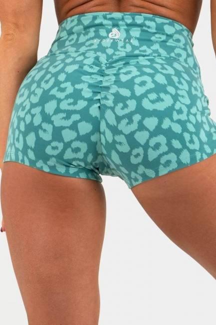 Ryderwear Animal Scrunch Bum Shorts - Leopard Teal